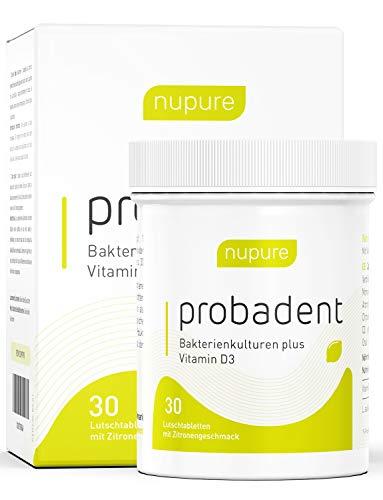 Nupure Probident - Bakterienkulturen für die Mundflora, Lutschtabletten mit Zitronengeschmack, Frischer Atem und Zahngesundheit, Effektiv gegen Mundgeruch. Einfache Mundhygiene ohne Mundspülung, Mundwasser, Munddusche und Zungenreiniger