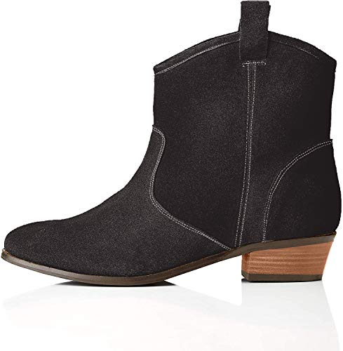 find. Pull On Leather Casual Western Botas Chelsea, Negro Black, 41 EU