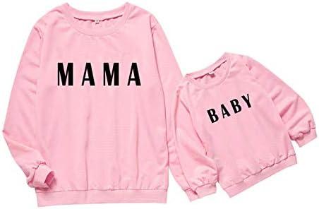 Geagodelia Sudadera de mujer niña mamá e hija iguales sudaderas de manga larga sin capucha impresión regalo Rosa-mama 5- 6 Años
