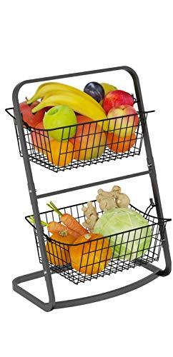 2 Tier Fruit Basket, GSlife Metal Mini Fruit Holder Market Basket Stand with Hanging Baskets for Fruit and Vegetable Storage Potato Onion Snacks K-cups, Black