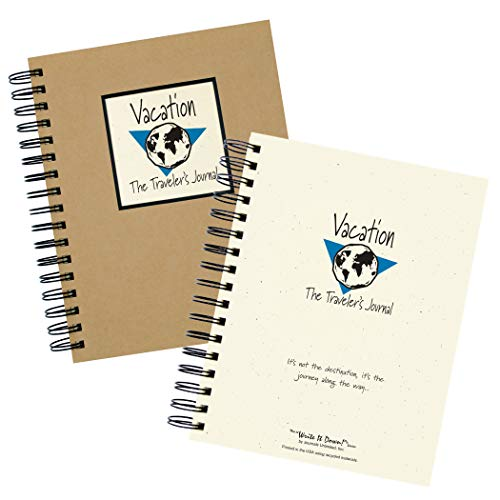 """Journals Unlimited """"Write it Down!"""" Series Guided Journal, Vacation, The Traveler's Journal (Globe), with a Kraft Hard Cover, Made of Recycled Materials, 7.5�x9� Photo #2"""