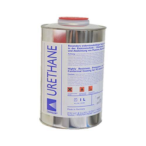 URETHAN-KLAR 1 L Dose - hochwertiger Einkomponenten Polyurethan Schutz und Isolierlack - ITW Cramolin - 121841 - besonders widerstandsfähig, inkl. 1 St. DEWEPRO® SingleScrubs