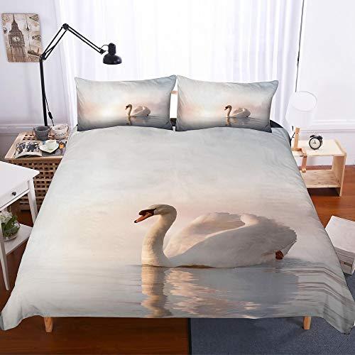 REALIN Funda Nórdica Cisne Blanco Elegante Juego De Ropa De Cama Cisne Blanco Blanco En El Lago,2/3/4 PCS Fundas De Edredón Nórdico/Almohada/Sábanas,para Cama 90/135/150/180
