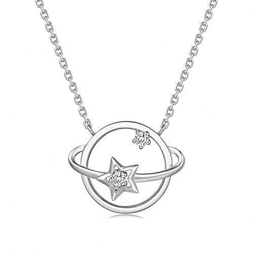 NHGF Collar de Plata de Ley s925, Collar de Planeta del Universo para Mujer, Collar de clavícula Chapado en Oro de 18 k, Accesorios de Plata(White Gold)
