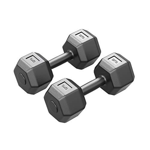 ailj Mancuernas Hexagonales 3KG/5KG Negras, Mancuernas De Fitness para Hombres Y Mujeres, Mancuernas para Tonificar Los Músculos, Entrenamiento De Cuerpo Completo, Mancuernas De Gimnasio En Casa