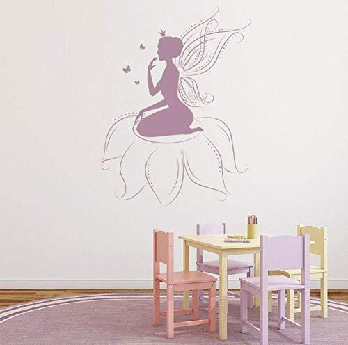Muurstickers DIY Art Sticker PVC Sticker Zelfklevende bloem Elf Vleugels Kinder Decoratie Bewaar Slaapkamer Verwijderbare Meubilair Decoratie42X56Cm