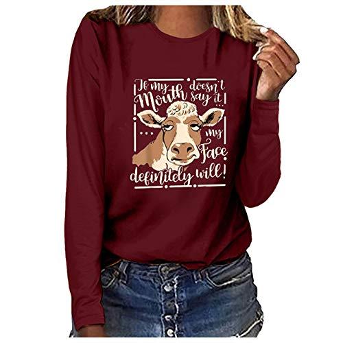 Sudadera informal para mujer, con estampado de vaca divertido, de manga larga, elástica, acogedora, para mujer (6 colores a elegir)