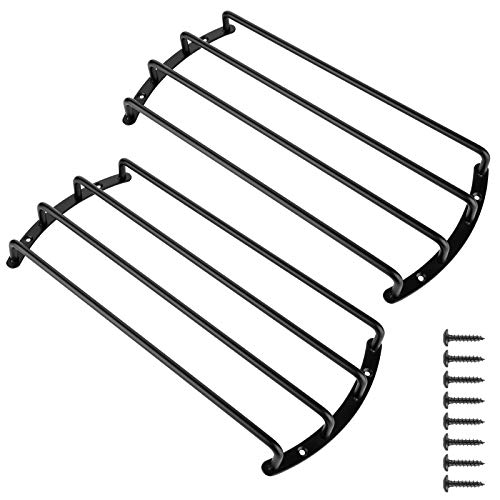 2pcs Black Color Metal Car Bar Grille Audio Speaker Subwoofer Grill Grille Cover Protector (12 Inch 4 Bars)