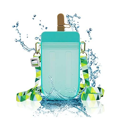 Lindas Botellas De Agua Para Niños Con Pajitas, Vasos De Plástico Transparentes a Prueba De Fugas, Correa De Hombro Ajustable Vaso Para Beber Jugo Adecuado Para Niños Adultos, (Azul)