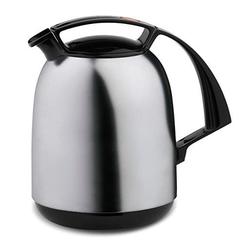 ROTPUNKT Isolierkanne 800 FAY 1,0 l | Zweifunktions-Drehverschluss | BPA-frei - gesundes Trinken | Made in Germany | Warm + Kalthaltung | Glaseinsatz | silvermoon matt