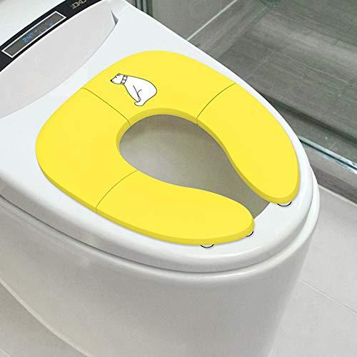DONG Faltbare Hilfstoilettensitz Beweglich, Kinderhilfstoilettensitz Ist rutschfest, Verhindert Eine Bewegung, Geeignet Für Die Reise,Gelb