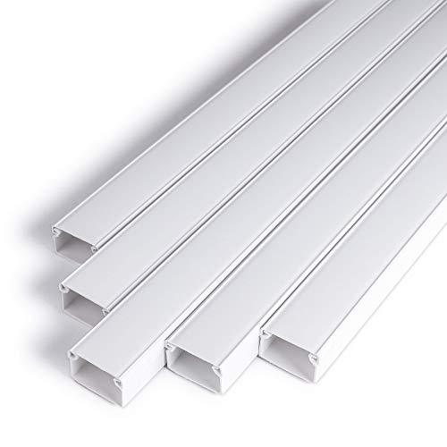 Kabelkanal Selbstklebend Weiss 1m (10 Stk. - 25x16 mm klein) - 10m Kabelkanäle mit Schaumklebeband fertig für Montage an der Wand - 25x16mm