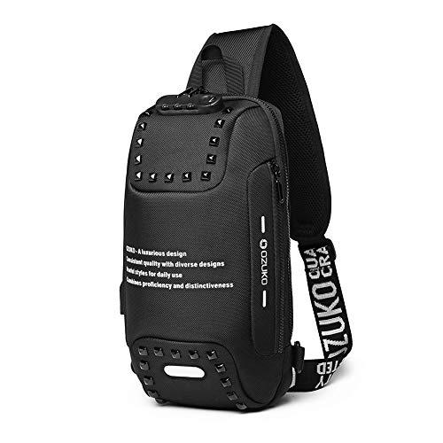Anti furto Sling Bag Spalla Crossbody Zaino Impermeabile Petto Bag con Porta di Ricarica USB Leggero Casual Daypack