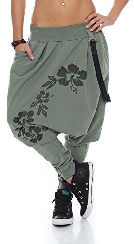 Malito Pantaloni Boyfriend Giarrettiere Twist Aladin Sbuffo Baggy 91085 Donna Taglia Unica (Oliva)
