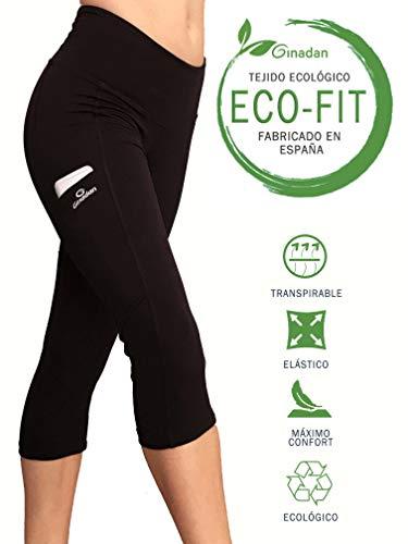 Ginadan Eco-Fit Pocket, Pirata ecológico con Bolsillo Integrado, Mujer, Negro, 2272-17-002-S