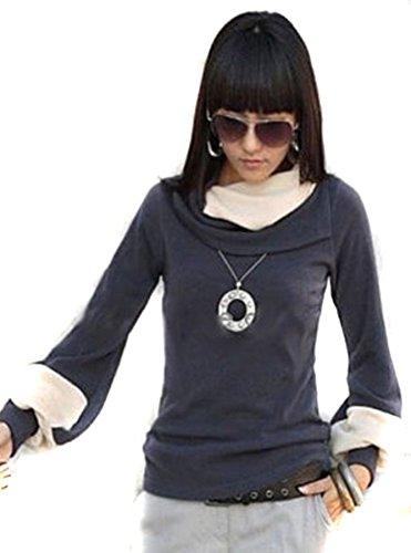 Mississhop Prij Japan Style Damen Bluse Longshirt Tunika Pullover Graphit-Ecru XL