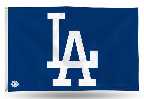 Rico Industries FGB5603 MLB Los Angeles Dodgers 3-Foot by 5-Foot Banner Flag