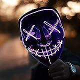 HONGXUNJIE LED Purga Mascara Carnaval Terror MáScaras,MáScara Disfraz Luminosa,para Carnival Navidad Halloween Cosplay Grimace Festival Fiesta Show Mascarada (Purple)