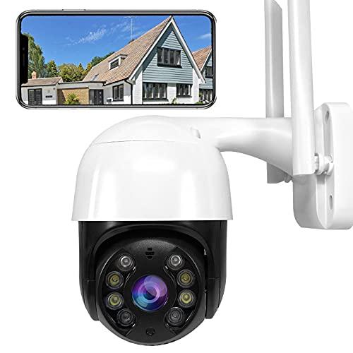Telecamere Senza Fili da Esterno con Visione Notturna, Telecamera WiFi Esterno 1080p PTZ IP Videocamera di Sorveglianza con Pan 320° e Tilt 90° Movimento Rilevazione Audio Bidirezionale