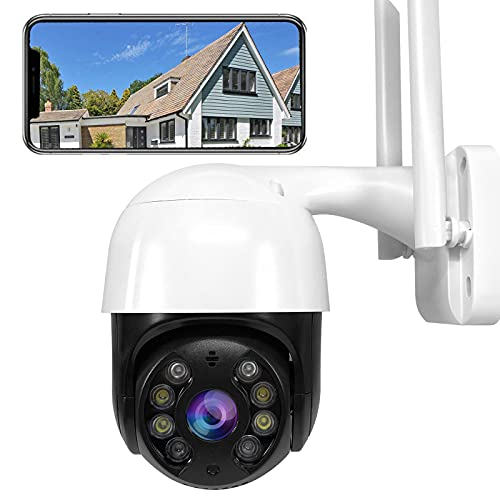 PTZ Camara Vigilancia, Camara WiFi Exterior Impermeable IP66 con Audio de Dos Vías, Visión Nocturna, Detección de Movimiento, App Alarma, 320° Pan/90° Tilt