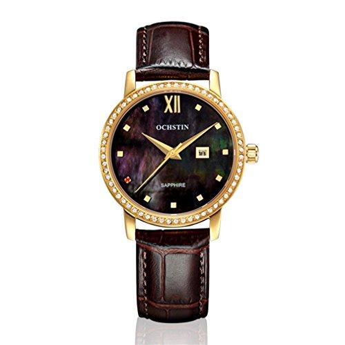 XINLEE Damenuhr Zeiger Display Diamant wasserdichtem Leder Gürtel Quarzuhr, 003