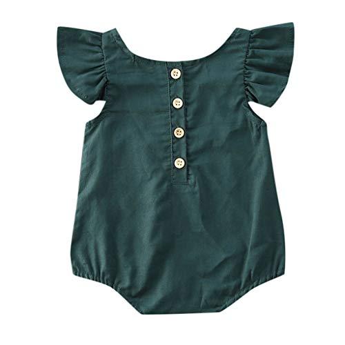 Janly Clearance Sale Mameluco para bebés de 0 a 18 meses, recién nacidos, niñas y niños, manga de mosca, con volantes, para bebés de 12 a 18 meses (verde)