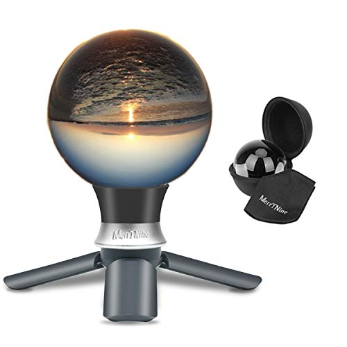MerryNine K9 Crystal Photography Ball, K9 Lens Ball with Mini Tripod, Universal Camera Interface Funnel Type Metal Base and Pouch, for Teaching Light Spectrum Physics Art Decor, (90mm)