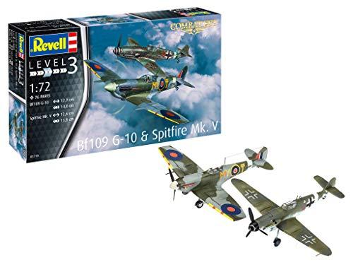Revell- Combat Set Bf109G-10 & Spitfire Maqueta Fiel al Original para Principiantes, Color Plateado (RV03710)