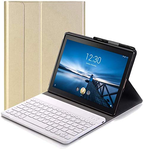 Keyboard Case for Lenovo Tab P10 - (QWERTY Layout) Ultra Slim Flip with Removable Wireless Keyboard Stand Case Cover for Lenovo Tab P10 TB-X705F 10.1 Inch, Gold