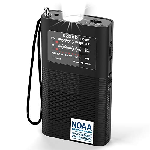 NOAA Weather Radio, [2021New] Portable AM FM Travel Radio with Best Reception and Longest Lasting Transistor - 2200Mah Rechargeable LI-ION Battery Operated with Flashlight, Alert SOS (Black, 2021)