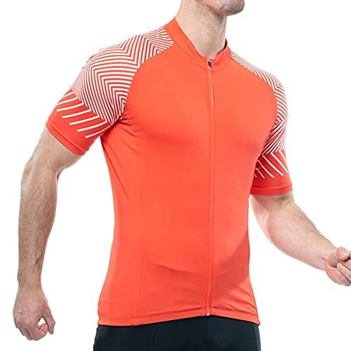 Jersey de Ciclismo para Hombre Manga Corta para Hombre Ciclismo Jersey Full Zip Moisture Mojado Templeable Transpirable Top Camisa de la Bicicleta Ligera y de Secado rápido Maillot de Ciclismo para h