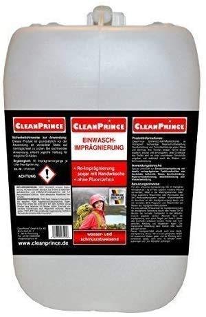 CleanPrince 2000 ml 2 Liter Einwaschimprägnierung im Kanister Waterproofer Outdoorbekleidung Imprägniermittel Einwasch-Imprägnierung für Outdoorbekleidung und Funktionskleidung Protection Imprägnierung einwaschbare Imprägnierung Wash wasser- und schmutzabweisend Re-Imprägnierung sogar mit Handwäsche ohne Fluorcarbon auch bei Handwäsche