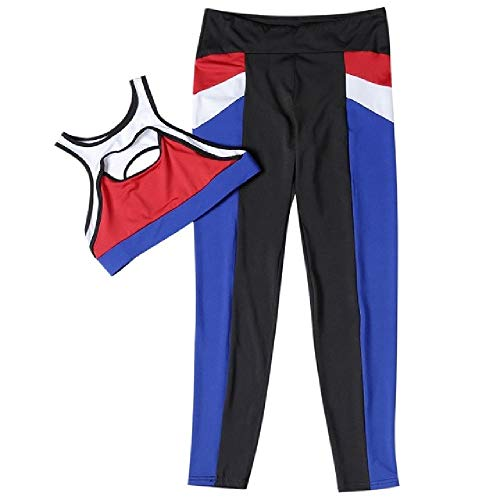 NHFGF Damen Yoga-Set Trainingsanzug Sexy Fitness Anzüge Gym Wear Hit Color Tank Top Leggings Laufbekleidung Sportbekleidung Sportanzug Gr. M, Siehe Abbildung
