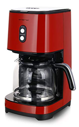 Emerio CME-121593.7 Filter Kaffeemaschine mit AROMA BOOST für den besonderen Geschmack, entnehmbarer Dauerfilter, RETRO Rot
