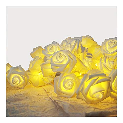 BBGSFDC Realista Luz de la decoración clásica Rosa Blanca con la Guirnalda del Partido del acontecimiento de la Boda for la luz llevada, luz Floral Decorativo, Año Nuevo luz de la Flor Brillante