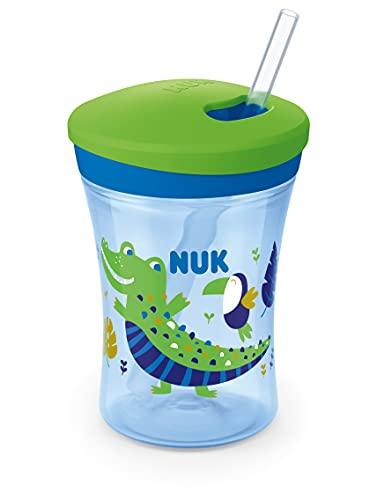 NUK Action Cup tazza per bambini con effetto camaleonte   12+ mesi   Cangiante   Cannuccia morbida con chiusura a rotazione   Anti-goccia   Senza BPA   230 ml   Coccodrillo (verde)