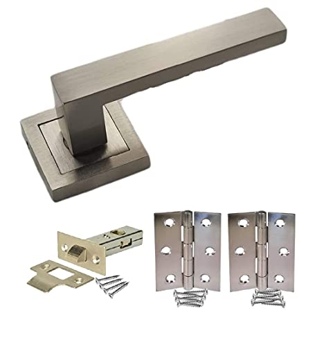 1 Pair of Delta Door Handles On Square Rose in Stunning Satin Stainless Steel Finish Finish Complete with Tubular Latches and Hinges - Golden Grace