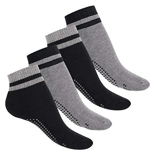 Celodoro Damen und Herren Yoga & Wellness Socken (4 Paar), ABS Söckchen mit Frottee-Sohle - Variante 2 35-38