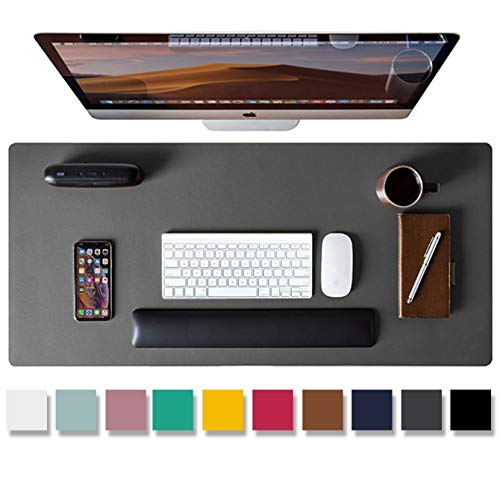 Leather Desk Pad Protector,Mouse Pad,Office Desk Mat, Non-Slip PU Leather Desk Blotter,Laptop Desk Pad,Waterproof Desk Writing Pad for Office and Home (Gray,31.5' x 15.7')