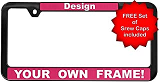 Custom Personalized Black Plastic Thin Top   Narrow Top Car License Plate Frame with Free caps - Pink/White