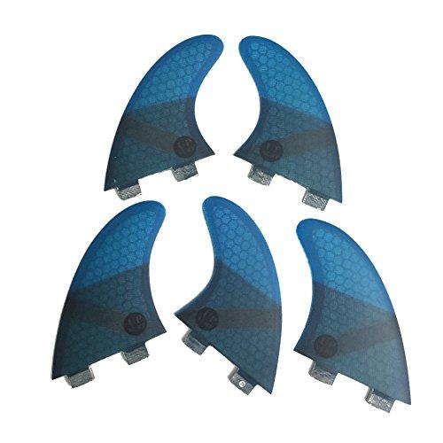UPSURF Tabla de Surf Tri - Quad Fin Set FCS Aletas Fibra de Vidrio Aletas Thruster (Azul K2.1)