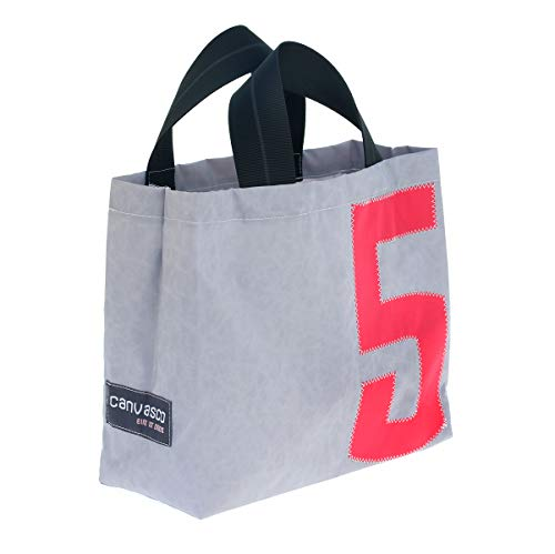 Einkaufstasche CANVASCO Tiny/Tasche grau/Gurt schwarz-grau/Motiv 5 pink