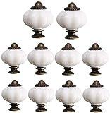 Wajade - Juego de 10 pomos de calabaza de acrílico, mango de cajón con tornillos, tiradores para armarios, aparador, cajones, muebles de cocina o habitación de niños (blanco)