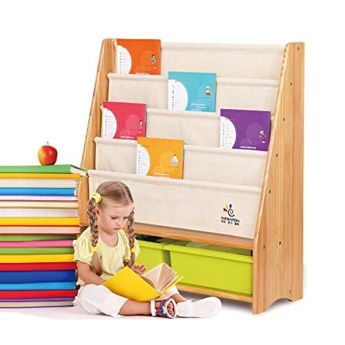 Rangement de dossiers Étagère pour Enfants bibliothèque pour Enfants Bois Massif Maternelle Carte bibliothèque étagère Affichage Cadre Photo Livre bibliothèque (Color : Brown, Size : 86 * 30 * 92cm)