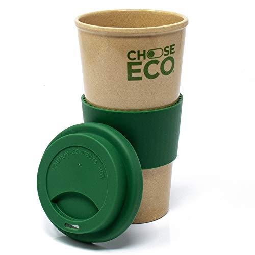 ChooseEco - Biologischer Kaffeebecher 550ml Grün aus Reishülsen - 100% Pflanzlich - 0% Plastik - 0% BPA - Umweltfreundlich & Nachhaltig - Coffee to Go Mehrwegbecher Spülmaschinenfest