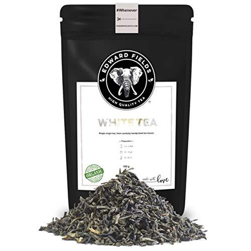 Edward Fields Tea ® - Té blanco orgánico a granel de origen único Vietnam. Té bio recolectado a mano con ingredientes naturales, 100 gramos.