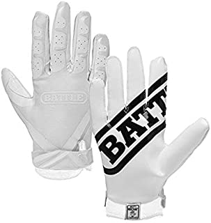 Battle Ultra-Stick Receiver Gloves, Youth X-Large - White/White