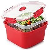 Tafura Microwave Vegetable Steamer. Microwavable Steamer Basket for Veggie / Broccoli / Fish. Steam Container w/ Vented Lid, 2 Liter, BPA Free