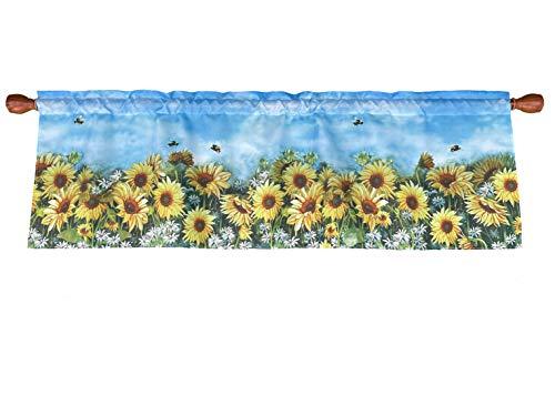 Sunflowers Window Curtain Valance Rod Pocket 58 X 18 Inches