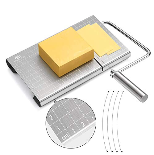 Stainless Steel Cheese Cutter / Wire Cheese Slicer with Accurate Size Scale
